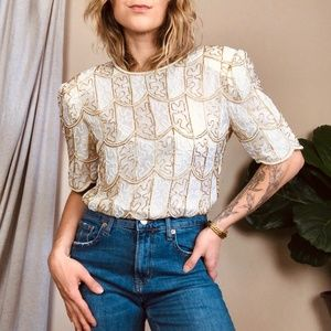 Beaded Embellished Glam Sparkle Vintage Blouse